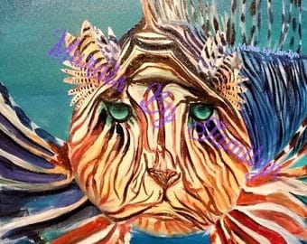 "King of the Sea |  Colorful Lionfish Art Print | 13"" x 19"""