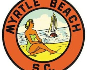 Vintage Style Myrtle Beach SC South Carolina  Travel Decal sticker