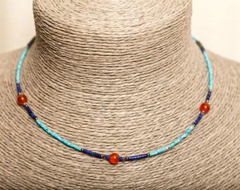 Crew neck - Turquoise, Carnelian - Lapis Lazuli