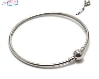 1 Bangle with closure clip No. 2, silver