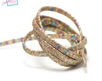 """1 m strap leather 5 x 2 mm, doubled """"Opal"""", gold"""