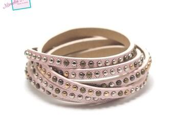 "1.15 m Strip split leather 5 x 2 mm ""studded"" pink"
