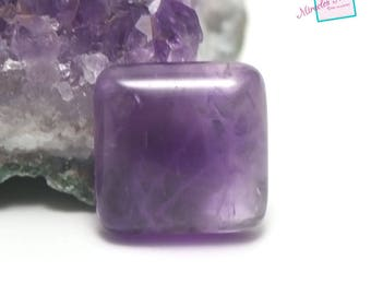 "Amethyst cabochon 1 ""square 16 x 16 mm"", natural stone"