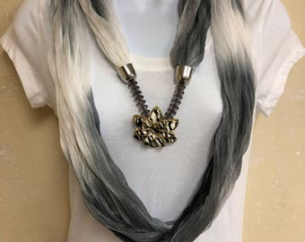 Light Weight Gray and White Infinity Scarf