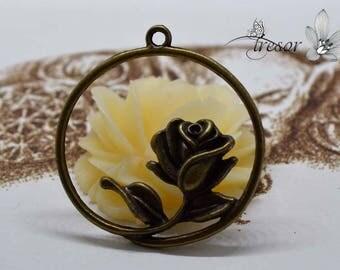 Set of 5 branches QZW013 pendant in bronze, pink flower