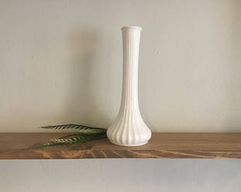 White Vintage Vase // Wedding Centerpiece // Skinny Milk Glass // Antique Decor