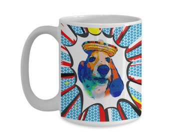 Comic Book Style Fiesta Basset Hound Dog Mug 15 oz