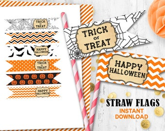 Halloween straw flags Orange black Halloween cupcake toppers Trick or Treat toppers Instant Download Halloween party