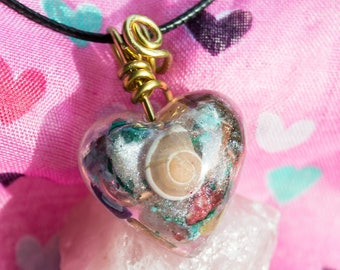 "Crystalline Orgone Pendant Necklace ""Universe"" Heart - Life Force Generator - Attuned 528hz - Reiki Infused Artisan Jewelry"