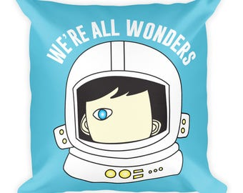 We're All Wonders double sided Square Reading Pillow Choose Kind Wonder Movie RJ Palacio Anti Bullying Kindness Teacher Gift Motivation