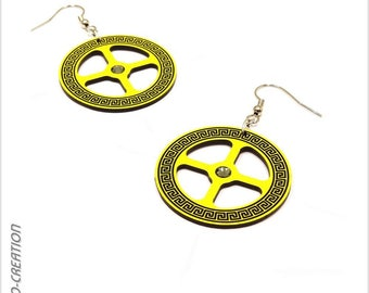 """Earrings collection GYRO """"Antic"""" (yellow/black)"""