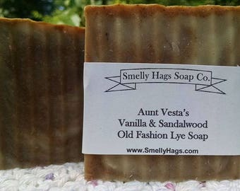 Aunt Vesta's Vanilla & Sandalwood  Old Fashion Lye Soap