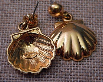 Napier Dangle Shell Earrings/Dangle Earrings/Goldtone Earrings
