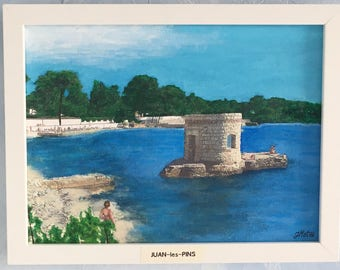Painting acrylic Souvenir of holiday Juan les Pins