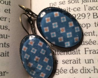 Cabochon square colourful earrings