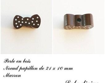 Wood 21 x 10 mm bead, Pearl flat bow tie: Brown