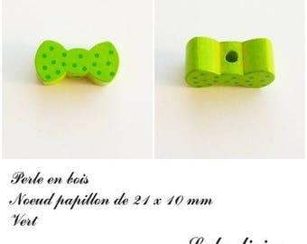 Wood 21 x 10 mm bead, Pearl flat bow tie: Green