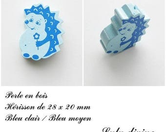 28 x 20 mm wooden bead, Pearl flat Hedgehog: light blue / medium blue