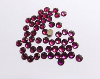 100 half rhinestone paste purple 4mm