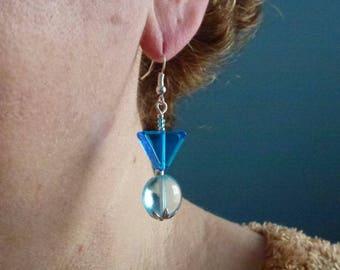 Geometric aquamarine Murano glass beads and blue earrings mounted on silver-plated hooks