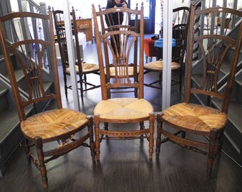 Set of 3 wooden church chairs and straw