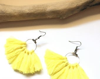 Earrings tassel earrings yellow & silver tassel pom pom pom pom crochet black earrings