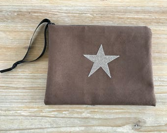 Silver Star taupe suede clutch