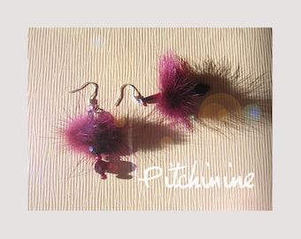 Real plum fur and swarovski crystal Pearl Earrings