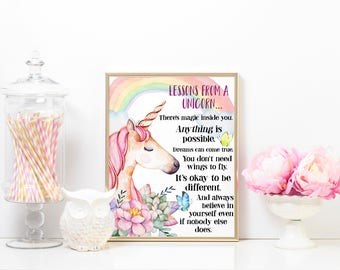Unicorn; lessons from a unicorn; wall decor; girls; magical; colours; sparkle