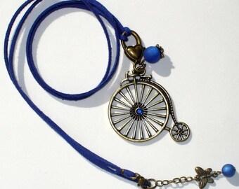 Velocipede blue 80 cm suede necklace