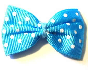 5 bowties blue medium polka dots 40x25mm ACA191Tur