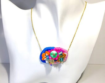 Bead  embroidered necklace Japanese Czech beads -Sea creatures-