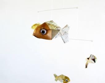 Mobile origami 5 fish paper patterns vintage beige tone