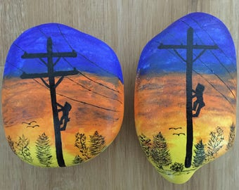Lineman Series Painted Stones