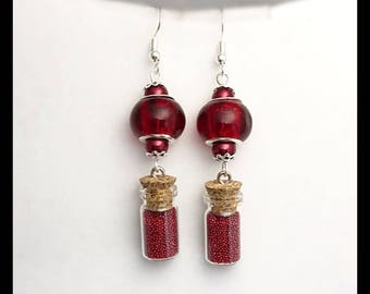 Red vial earrings