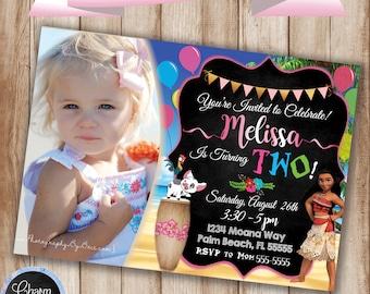 Moana Birthday Invitation, Picture Moana Invitation, Moana Birthday Party Invitation, Moana Party, Digital Invitation, Baby Moana Invitation