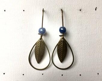 Earrings dangle ceramic bead and bronze sequins
