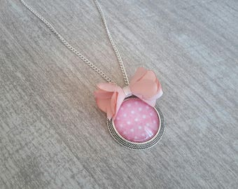 Handmade Cabochon necklace pink romantic peas