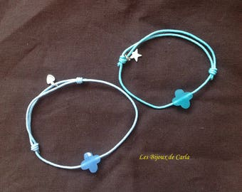 Synthetic cord bracelet and glass bead