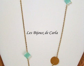 Gold plated necklace with round pendants and glass bead