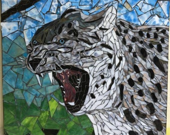 Stained Glass Mosaic Snow Leopard Wall Hanging
