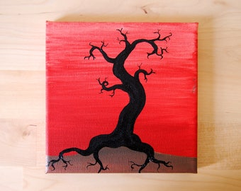 Lonely Tree Acrylic Painting 15x15cm Stretched Canvas
