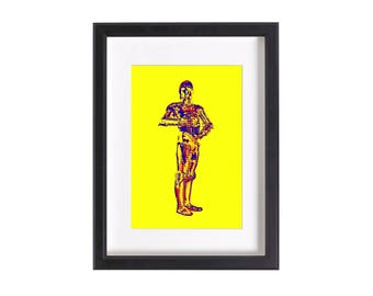 Pop art print of C3PO Star Wars   Funky pop art print poster 6x4 or 12x8 inches   Ready to be framed and matted   Free Shipping #2