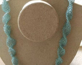 Ice blue necklace. Handmade copper wire crochet necklace