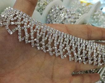 1 yard Rhinestone trim Rhinestone Chain  Formal gown belt  rhinestone fringe Swarovski shine silver