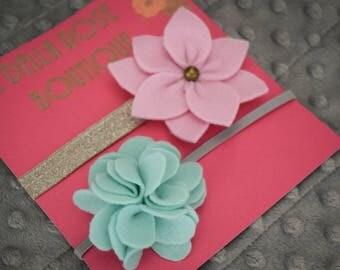 Set of 2 felt floral headbands