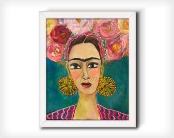 "Frida Kahlo Wall Art - Art Print from Original Painting ""Adorned"""