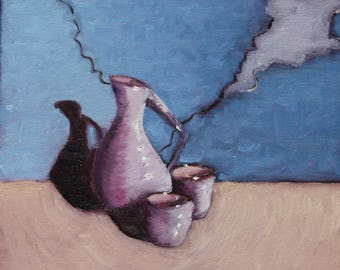 """Small Oil Painting Still Wall Art On Canvas By Kambiz Nazeer - Sake. Size: 12"""" X 12"""" Inches"""