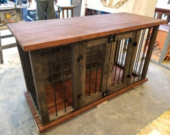 Dog crate entry table/tv stand