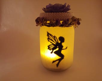 Fairy Jar with lavender flower and fabric trim